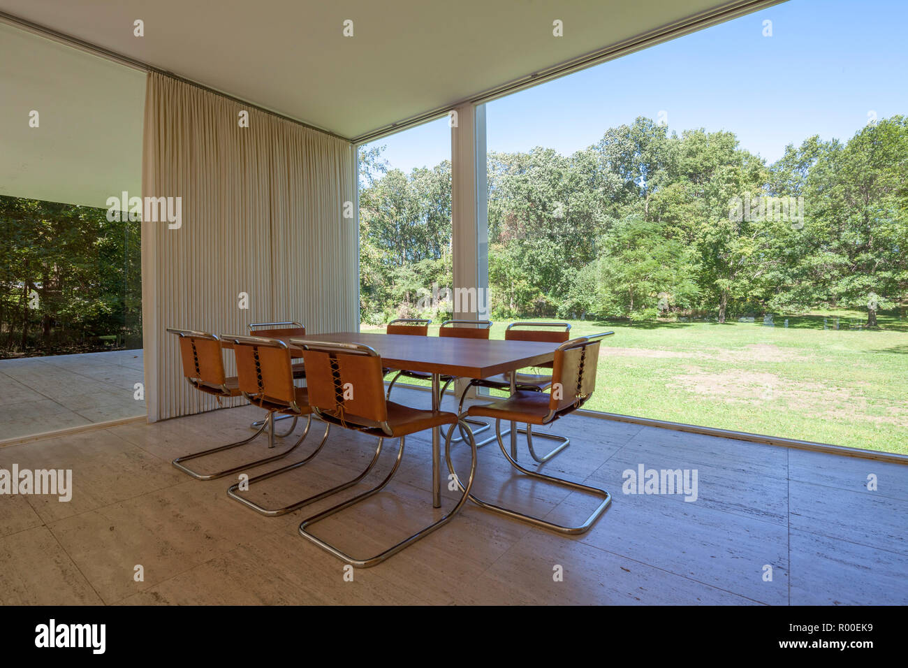 Dining table interior of farnsworth house by architect ludwig mies van der rohe 1951 plano illinois usa