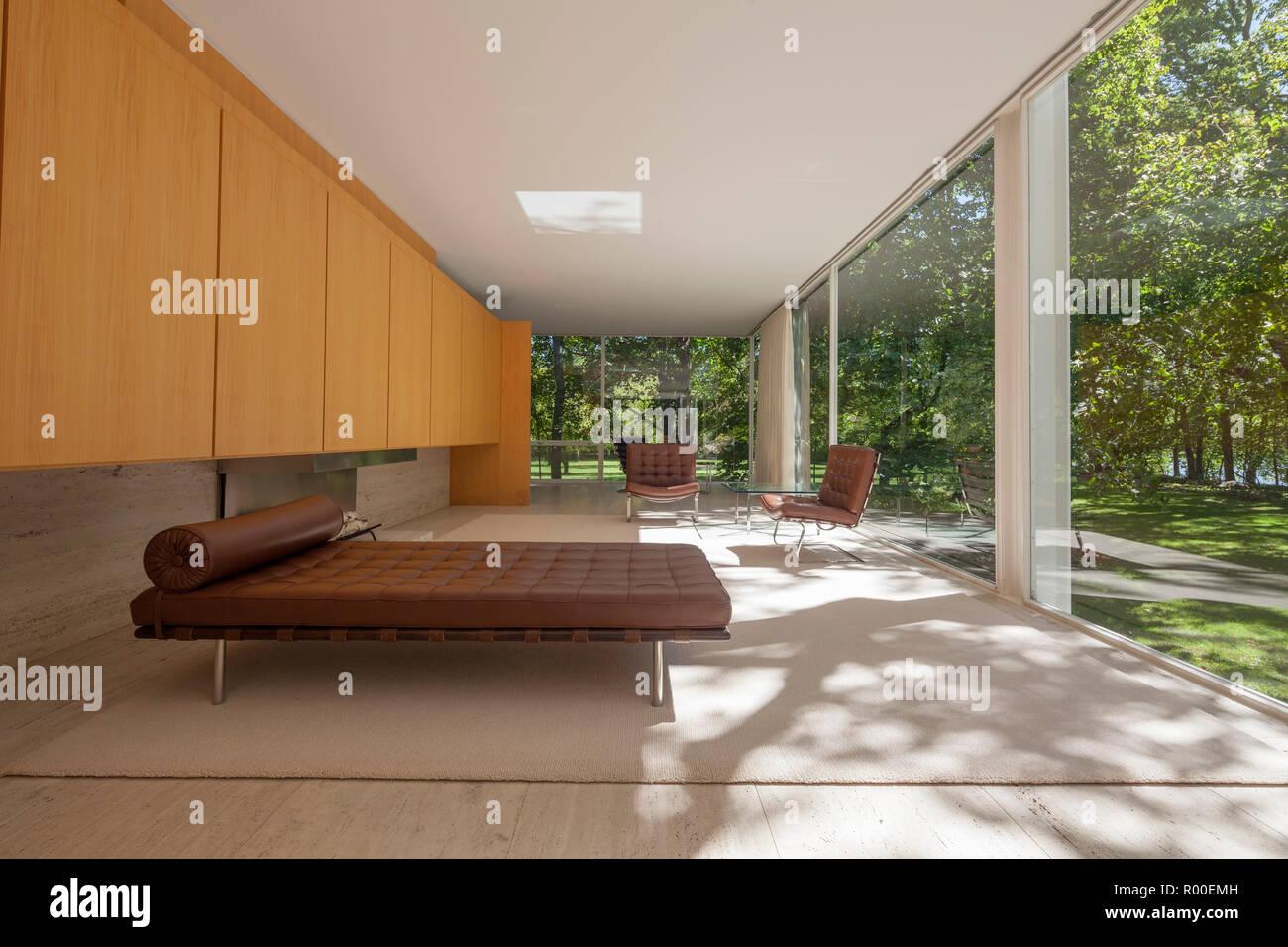 Living room interior of farnsworth house by architect ludwig mies van der rohe 1951 plano illinois usa