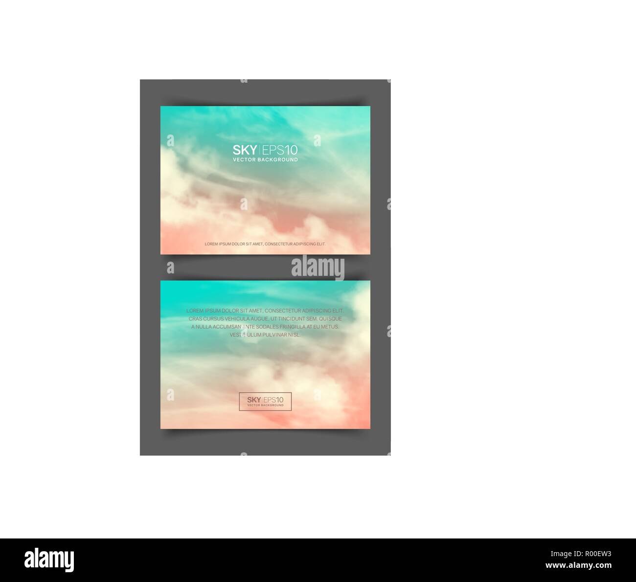 Two-sided horizontal flyer of a4 format with realistic pink-blue sky - Stock Image