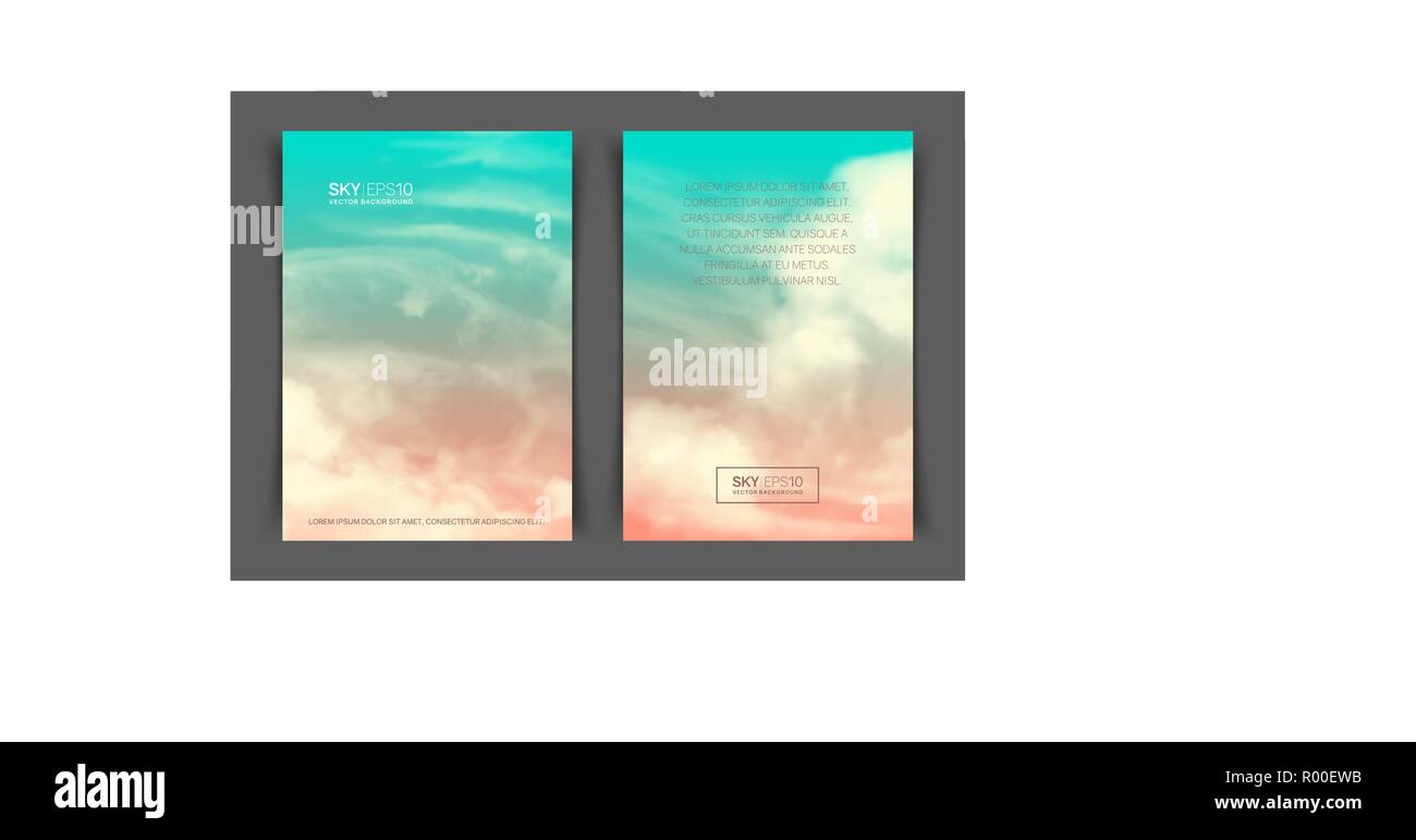 Two-sided vertical flyer of a4 format with realistic pink-blue sky - Stock Image