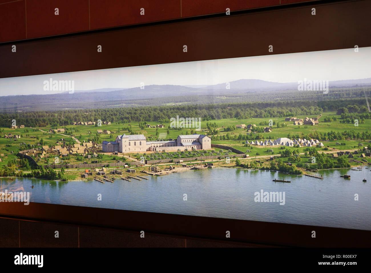 Kaiserpfalz, Bild im Ausstellungsraum des Archäologischen Gartens, Kaiserpfalz Franconofurd, Stadthaus Frankfurt, Neue Altstadt,  Frankfurt am Main - Stock Image