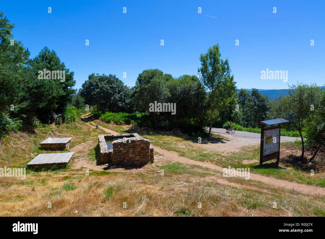 Camino de Santiago (Spain) - A fountain along the way of St.James, near Foncebadon Stock Photo