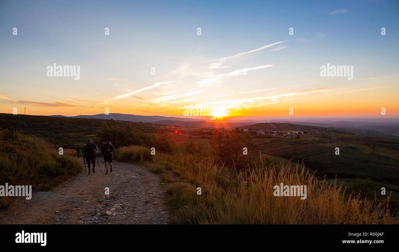Camino de Santiago (Spain) - Sunshine landscape along the way of St.James near the Cruz de Hierro Stock Photo