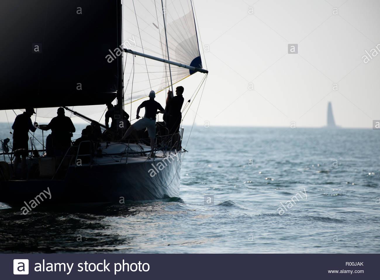 Yacht at sea Stock Photo