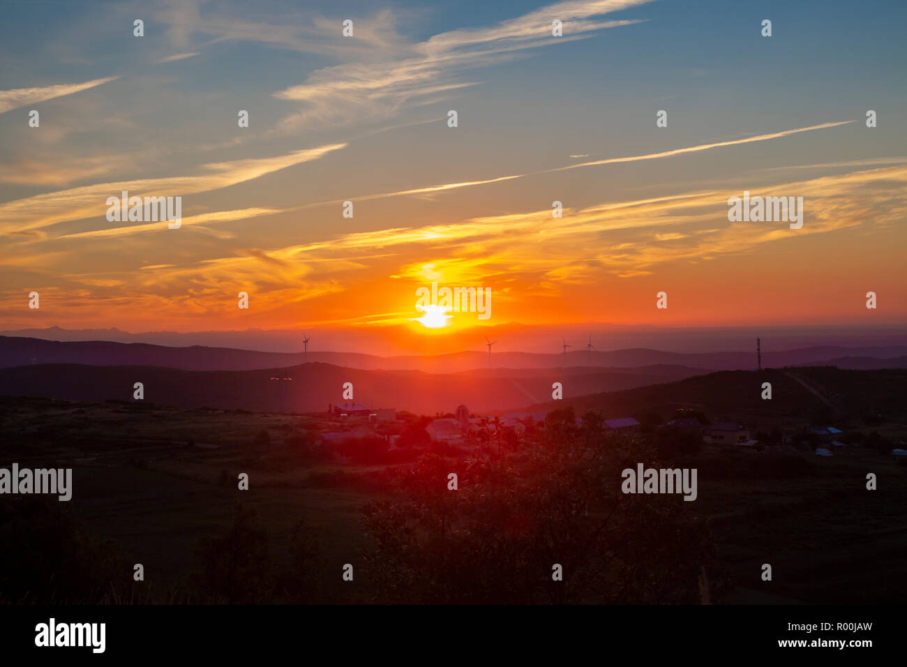 Camino de Santiago (Spain) - Sunshine landscape along the way of St.James near the Cruz de Hierro Stock Photo