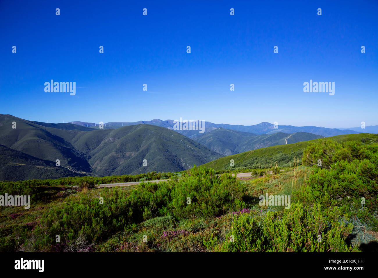 Camino de Santiago (Spain) - Along the way of St.James, in the Bierzo green landscape Stock Photo
