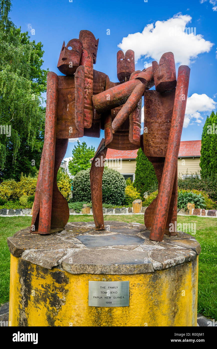 the steel sculpture titled 'The Family' by Tom Deko at the Memorial Park in Walcha is part of the permanent Open Air Gallery of the country town in th - Stock Image