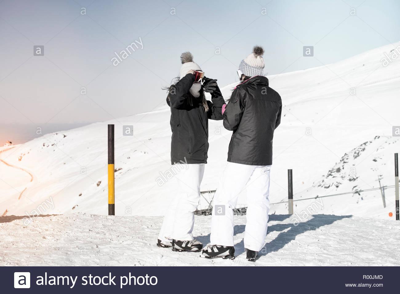Women at ski field in Spain Stock Photo