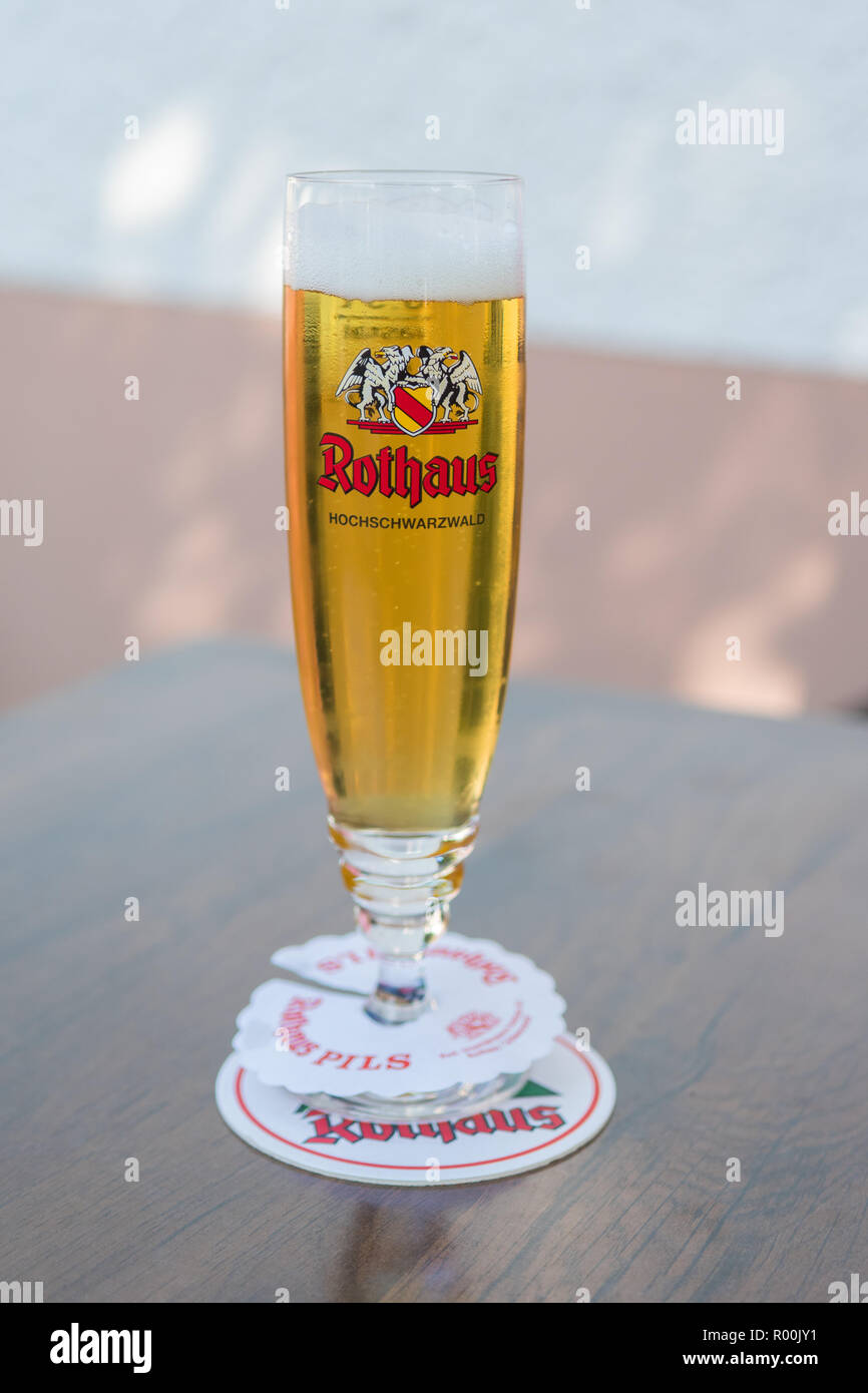 German beer - Rothaus Pils lager - Germany - Stock Image