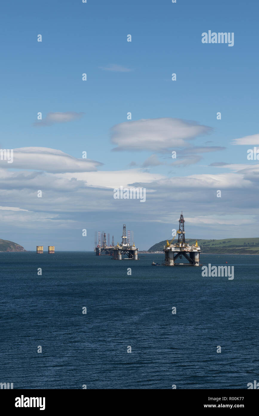 Drilling Rigs anchored in the Cromarty Firth, Invergordon, Highland, Scotland. - Stock Image