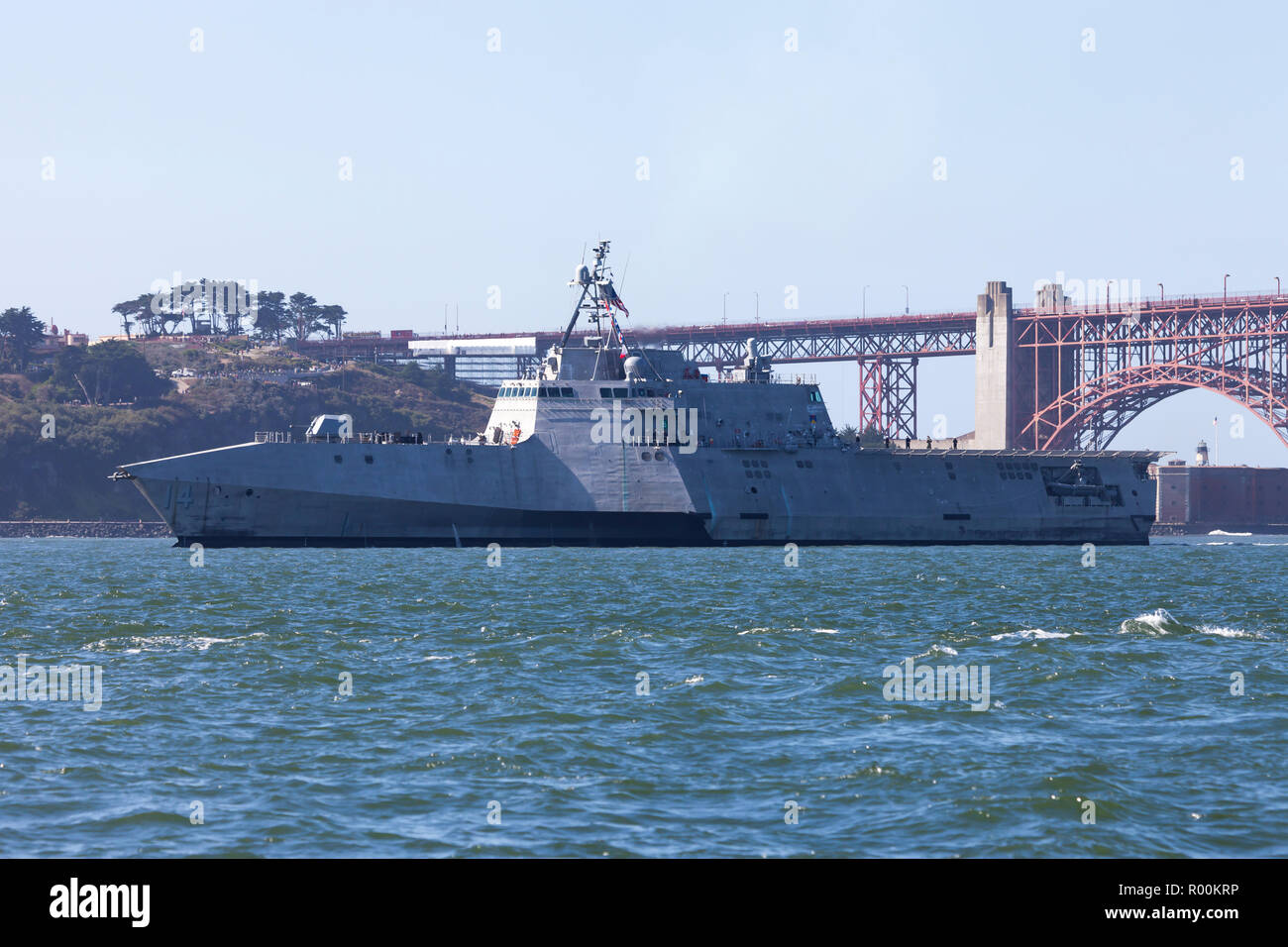 The Independence class littoral combat ship USS Manchester (LCS 14) on San Francisco Bay. Stock Photo