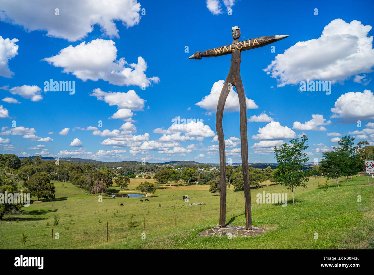 the tallowwood sculpture titled 'True born native man' by Nigel White, greets visitors to the Northern Tablelands country town of Walcha on the Oxley  - Stock Image