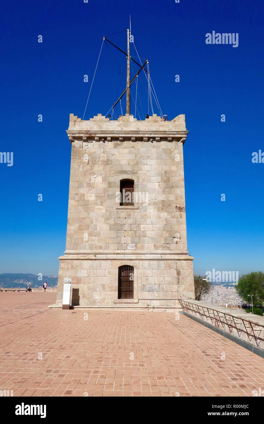 Barcelona, Spain, October 2018. Castell / Castle Mont Juic on a hot bright afternoon. - Stock Image