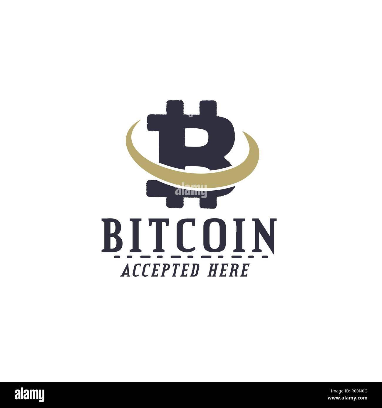 Bitcoin Accepted emblem. Crypto currencies label and concepts. Digital assets logo. Vintage han drawn monochrome design. Technology patch. Stock illustration isolated on white Stock Photo