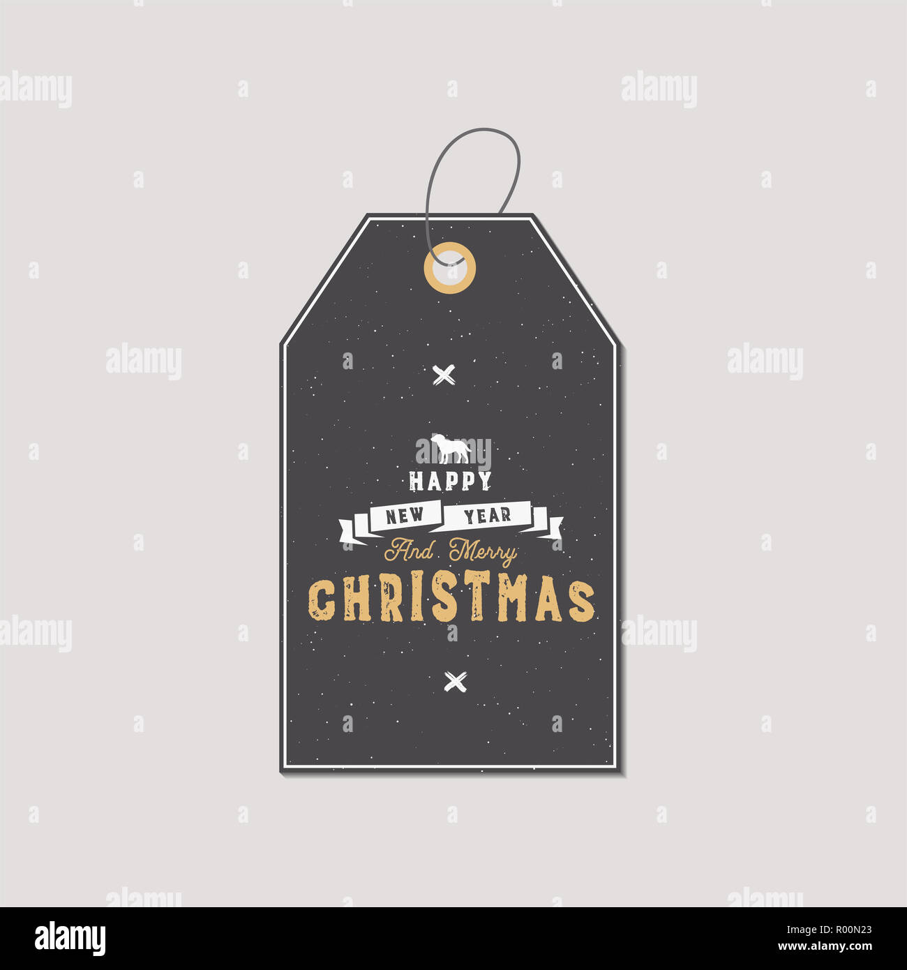 christmas gift tag typography quote design happy new year and