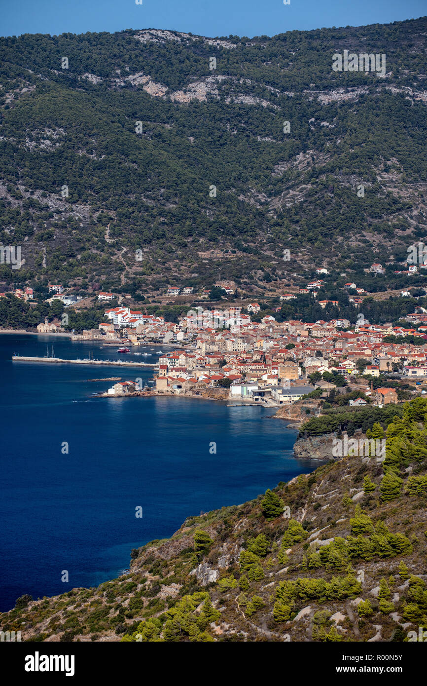 Town of Komiza on the island of Vis, Dalmatia, Croatia - Stock Image