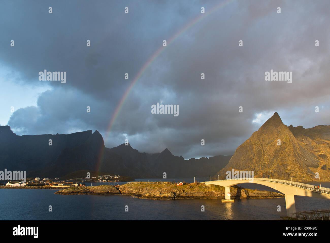 Rainbow over Reine, Lofoten, Norway Stock Photo
