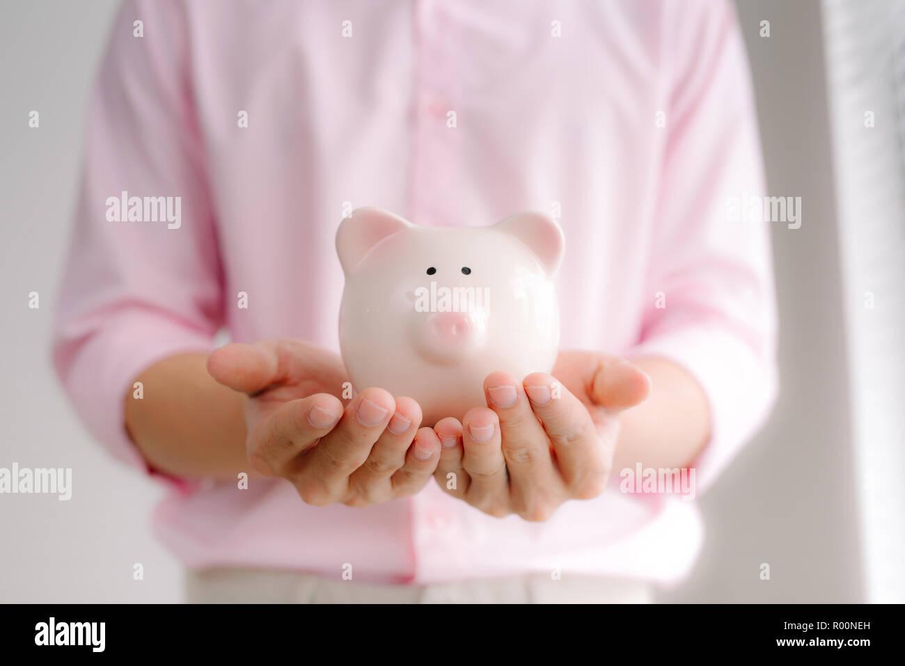 Man Hands Holding Big Pink Piggy Bank Stock Photo 223751657