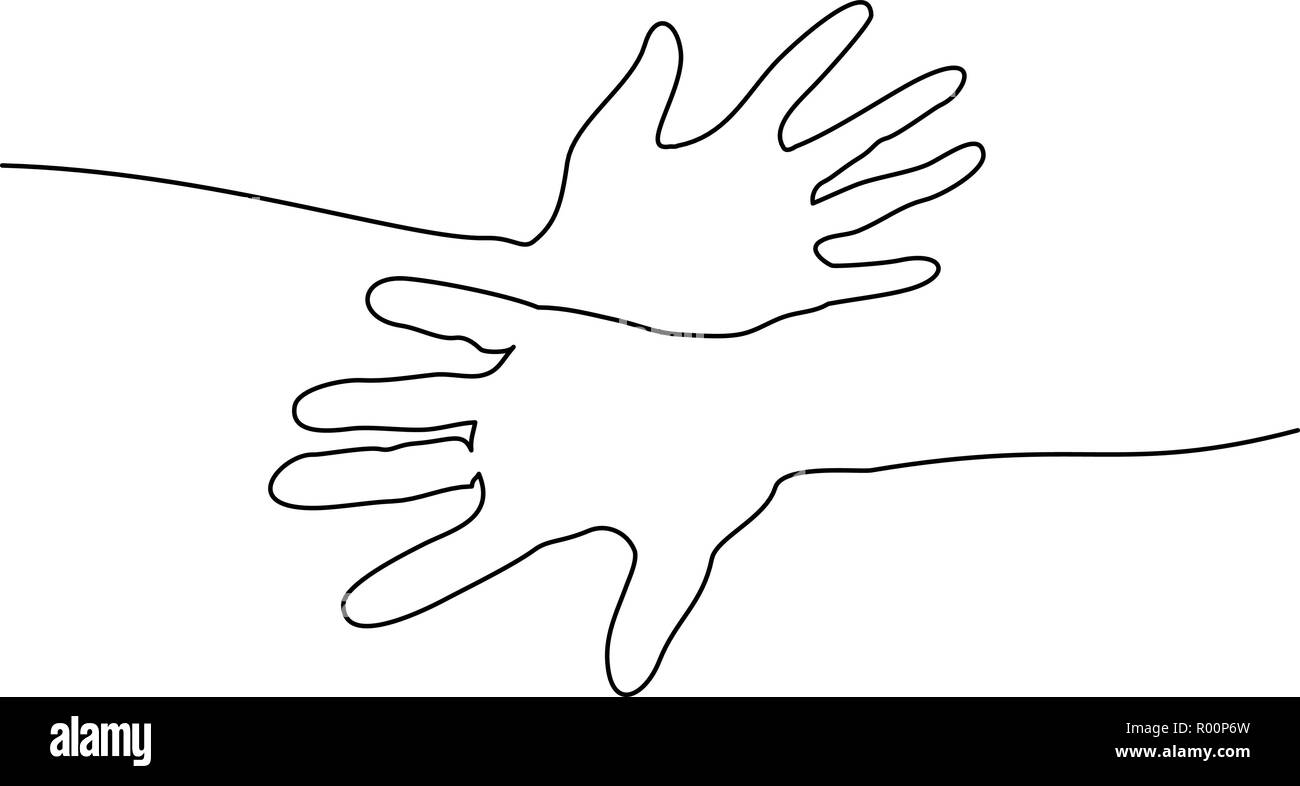 Continuous one line drawing. Abstract hands togehter. Vector illustration - Stock Image