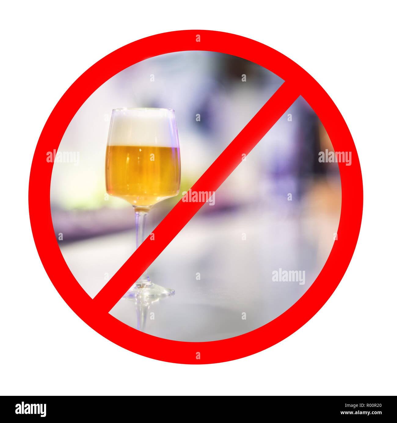 Alcohol prohibition sign. - Stock Image