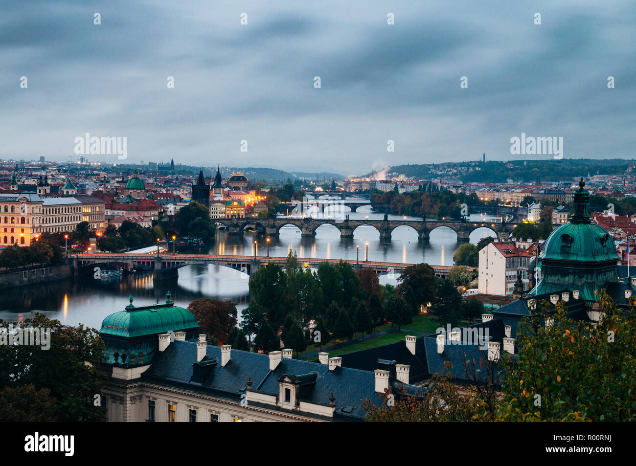 Early Morning in Letna Park, Looking Over Prague Stock Photo