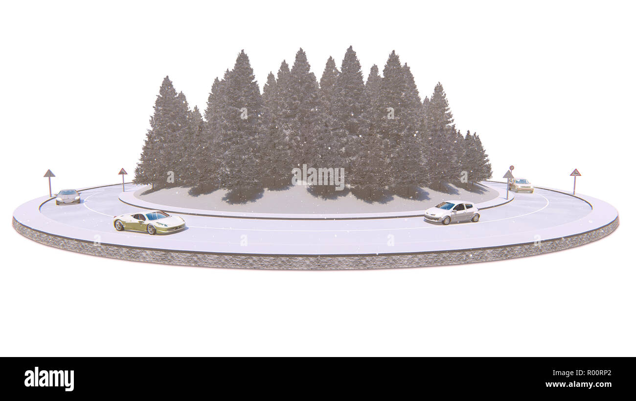 Winter traffic, isolated on the white background, 3d illustration - Stock Image