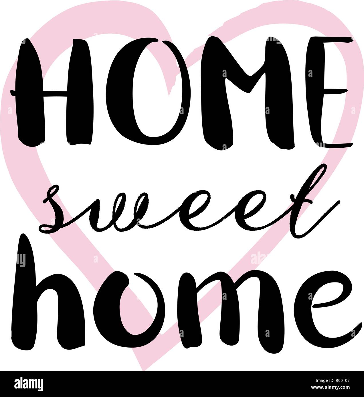 Home Sweet Home, a decorative design with hand drawn lettering, vector illustration - Stock Vector