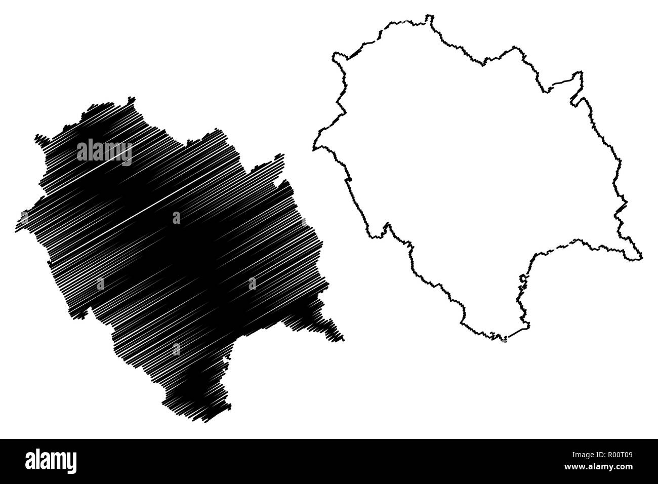 Himachal Pradesh (States and union territories of India, Federated states, Republic of India) map vector illustration, scribble sketch Himachal Prades - Stock Vector