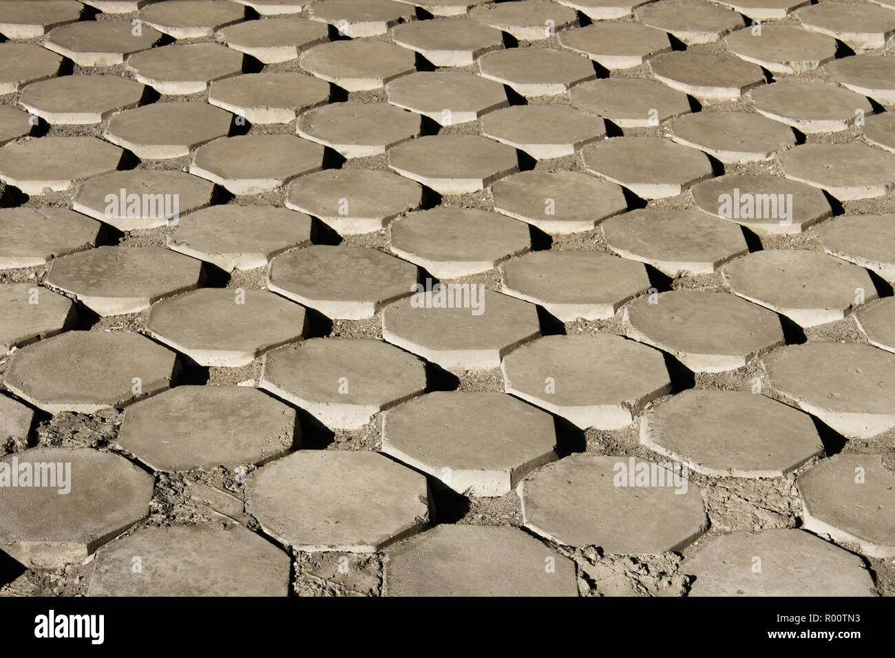 Consolidated skeleton with large octagonal concrete plates fastened together by concrete - Stock Image