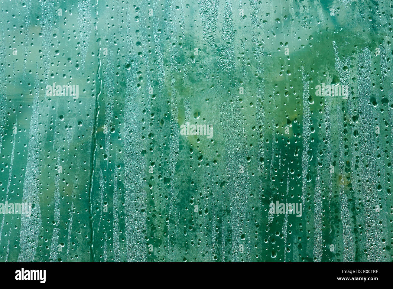 The surface of polyethylene film with a condensed drops of dew on the fuzzy background of green plants Stock Photo