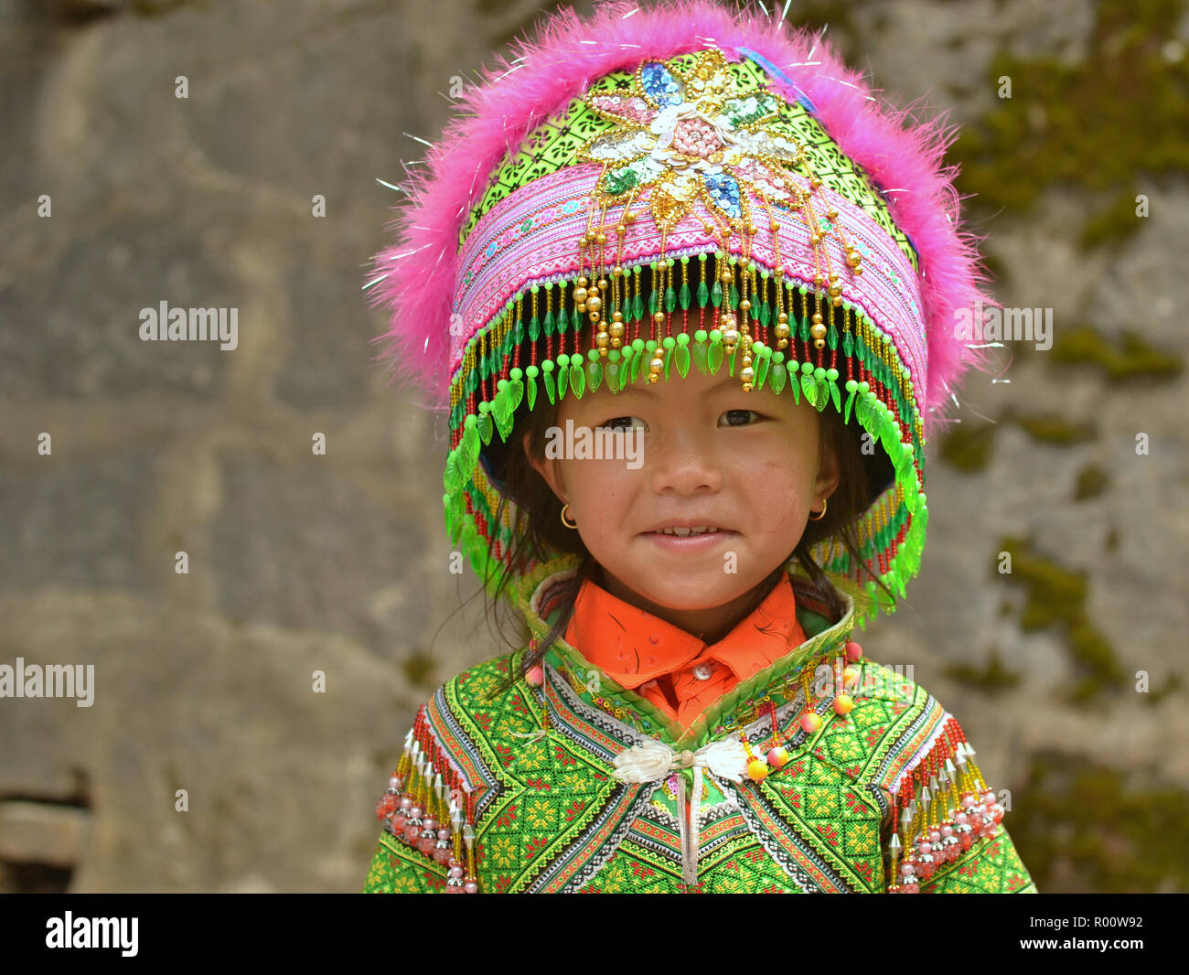 f734a3eed Little Vietnamese Flower H'mong boy with an oversized traditional  Miao/H'mong