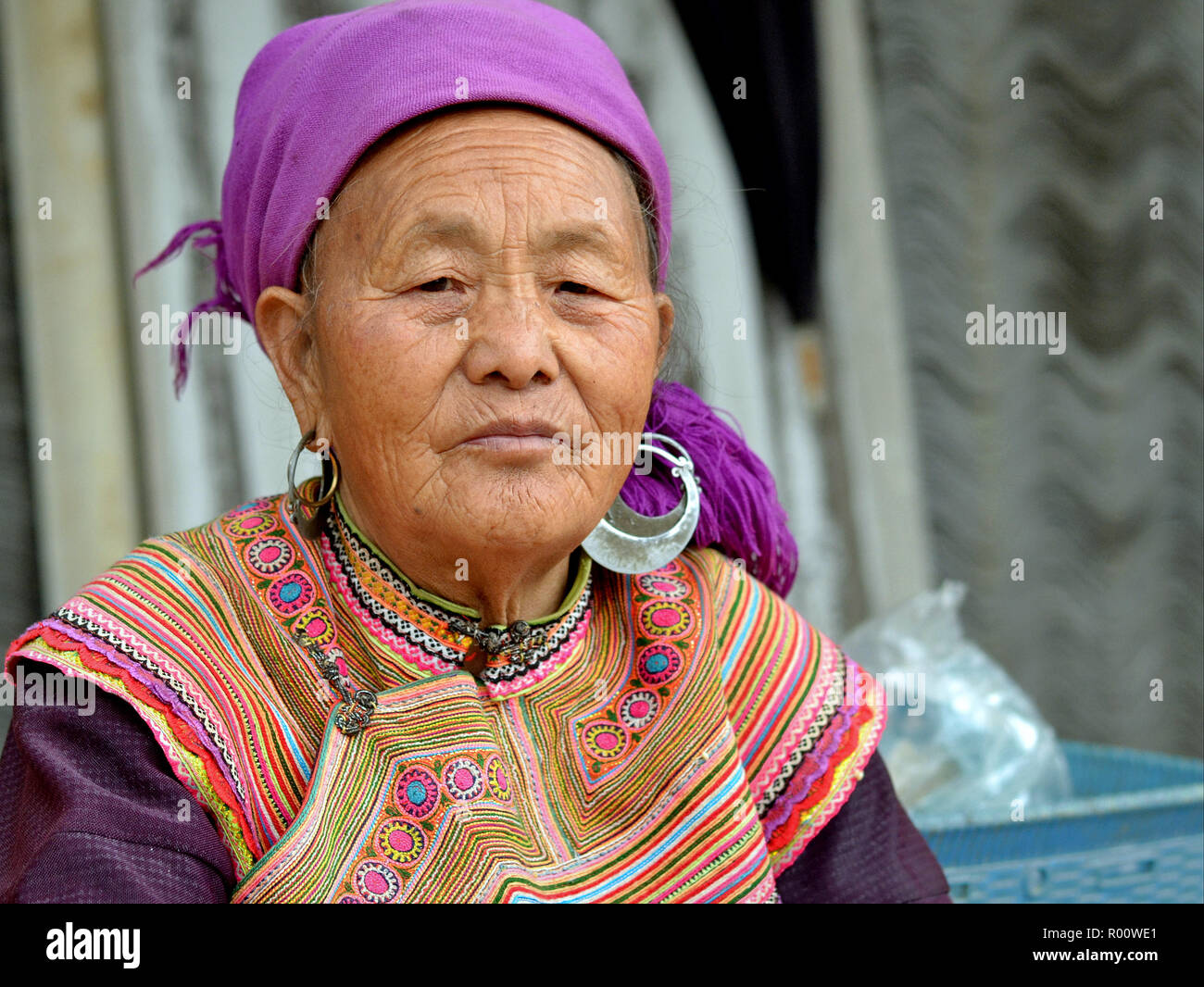 ec6253700 Elderly Vietnamese Flower H'mong ethnic-minority hill-tribe woman with  heavy tribal