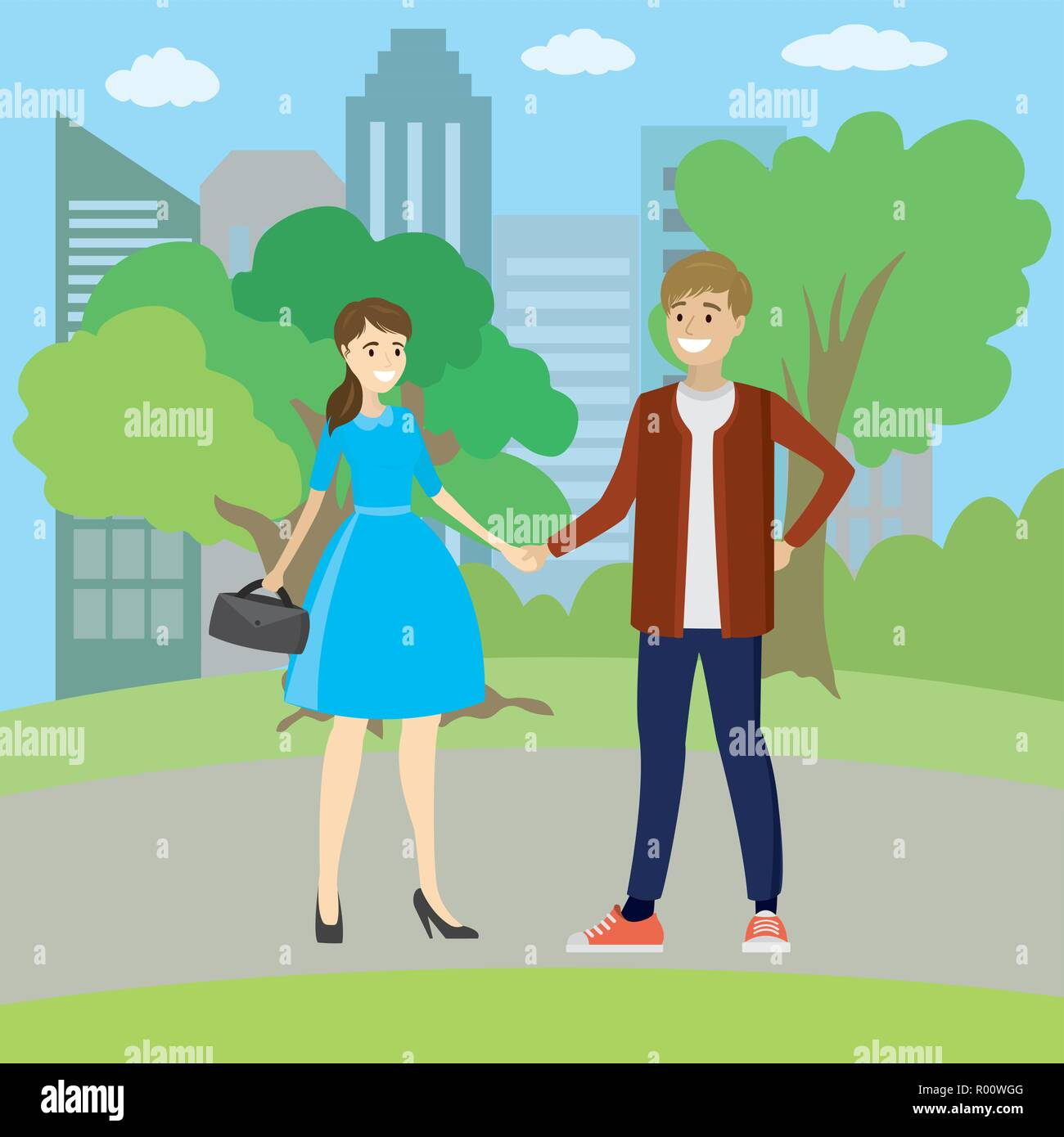 Young couple, family, standing in park, holding hands,vector illustration - Stock Vector