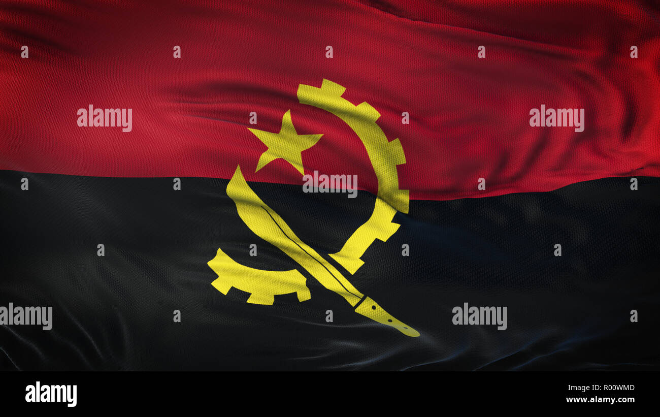 ANGOLA Realistic Waving Flag Background - Stock Image