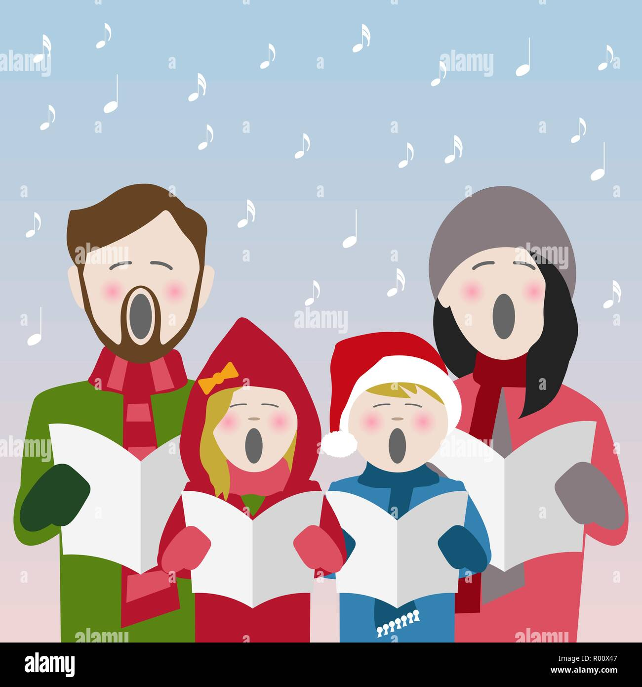 037145ae6c689 family in winter clothes singing Christmas carols from a song sheet - Stock  Vector
