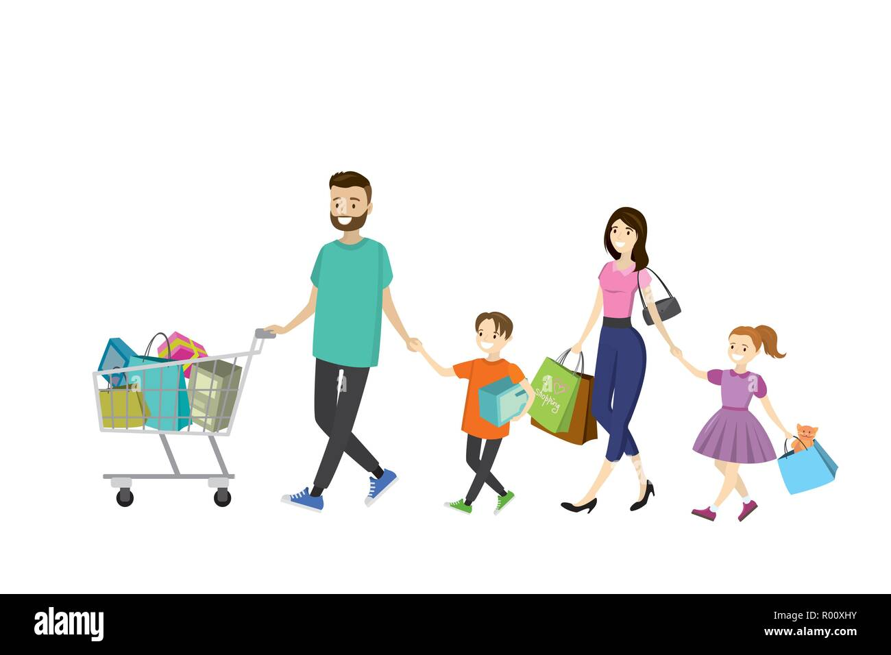 892d33583ec15 Happy family with shopping bags. Big discount in store. Flat design  ,cartoon vector illustration
