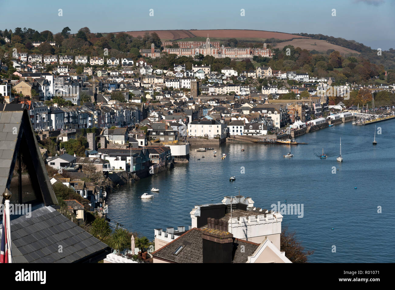 View over Dartmouth, Devon, including the Britannia Royal Naval College. Stock Photo
