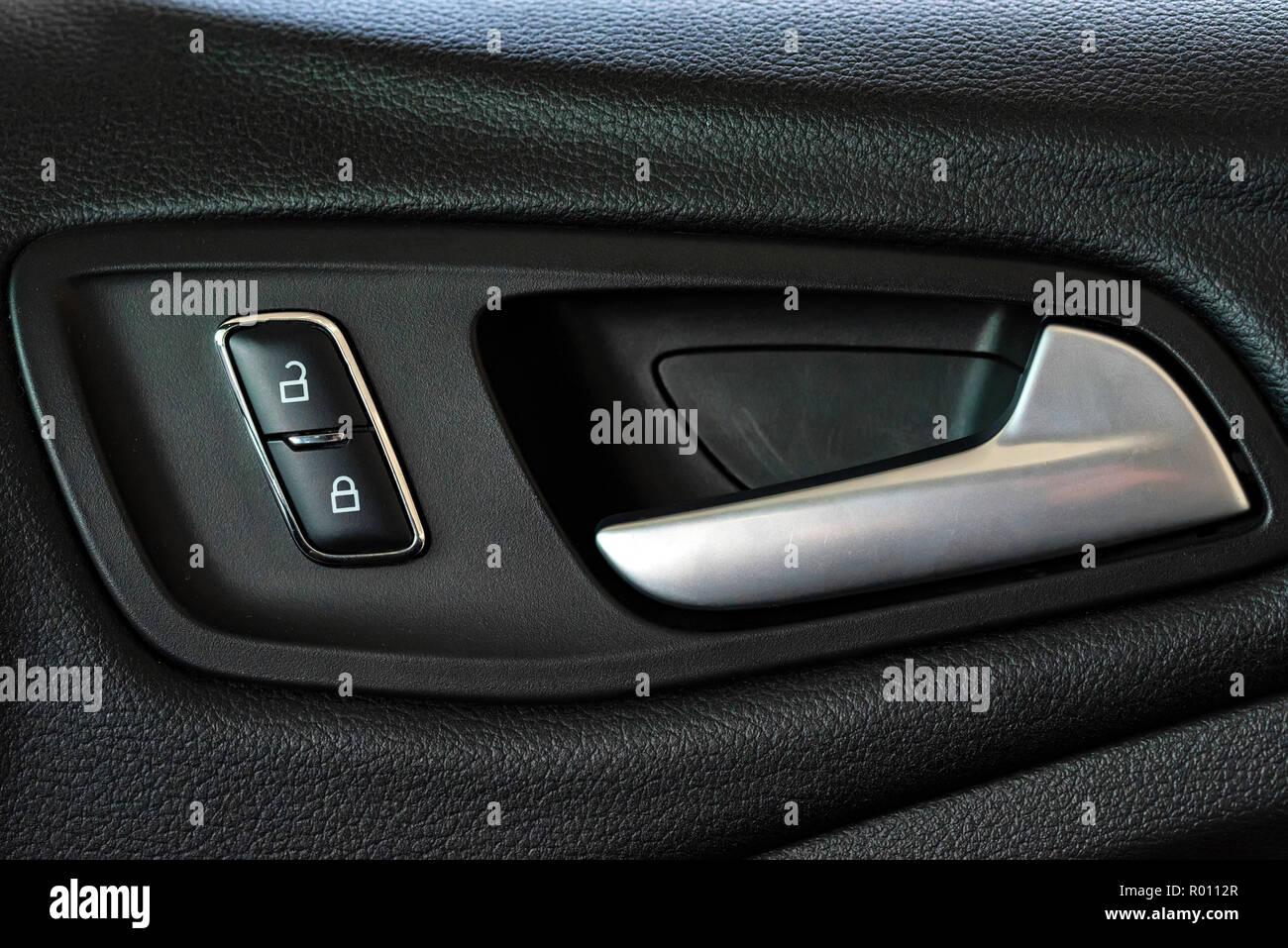 Inside car door handle Interior Car Modern Plastic Car Door Handle From Inside Close Alamy Modern Plastic Car Door Handle From Inside Close Stock Photo