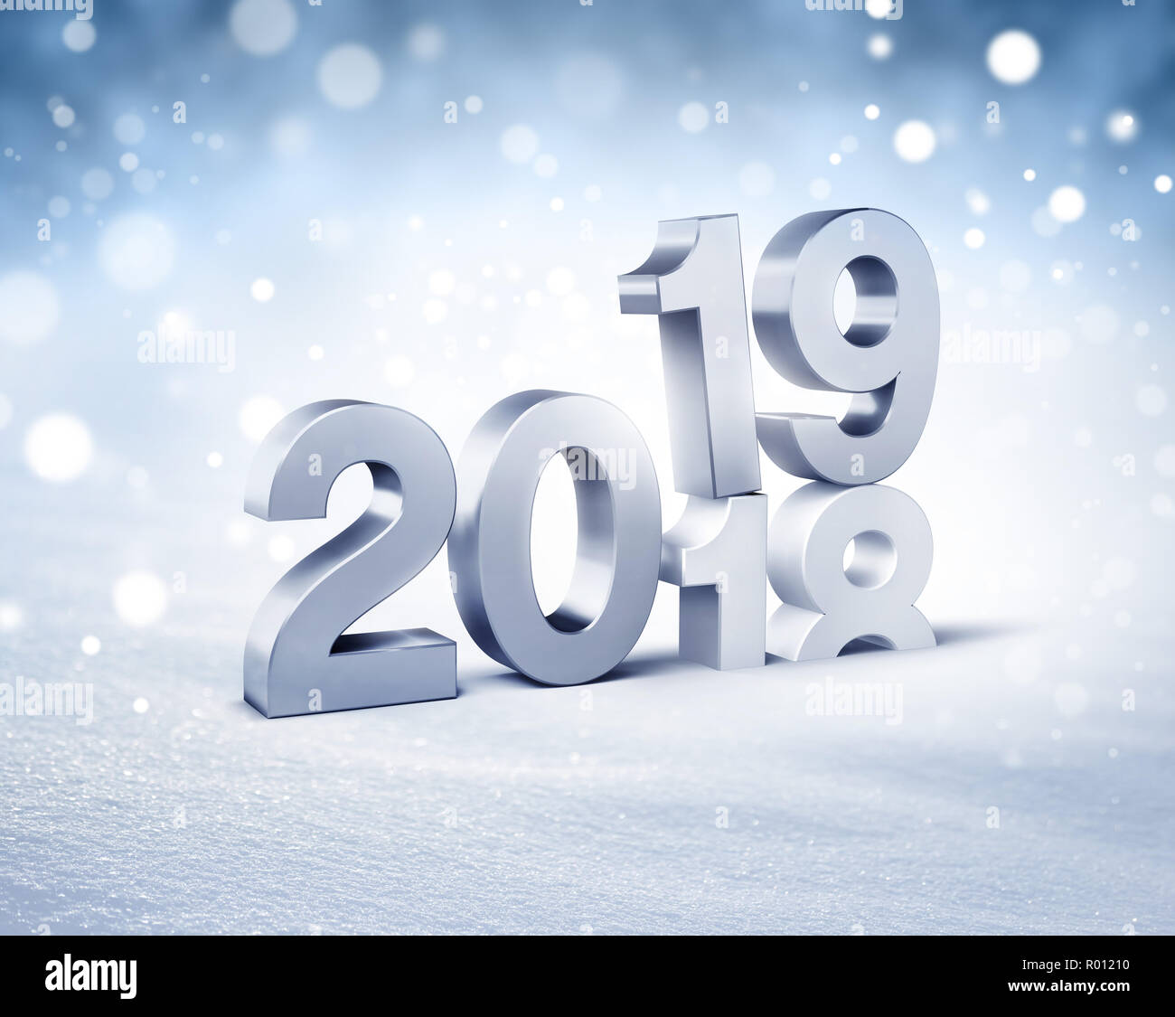 silver new year date 2019 above 2018 on a winter snow background 3d illustration