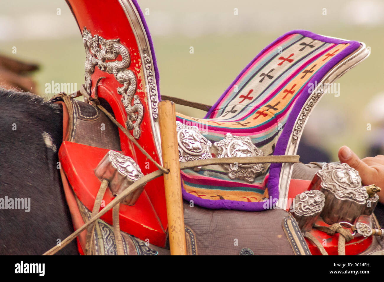 Closeup of colorful traditional Russian saddle with silver metal engravings on horse in Mongolia Stock Photo