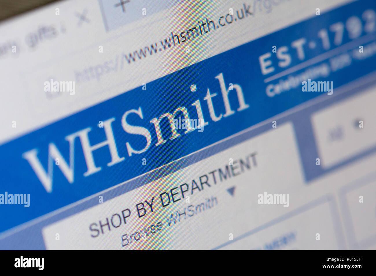 WHSmith online shopping site. Screenshot of internet website. - Stock Image