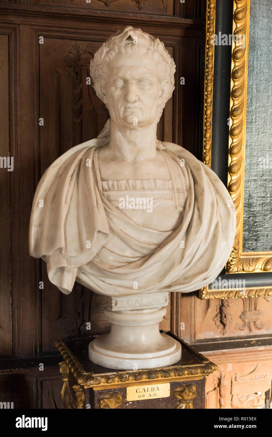 Stone (apparently marble) bust of the Roman Emperor Nero. (103) - Stock Image
