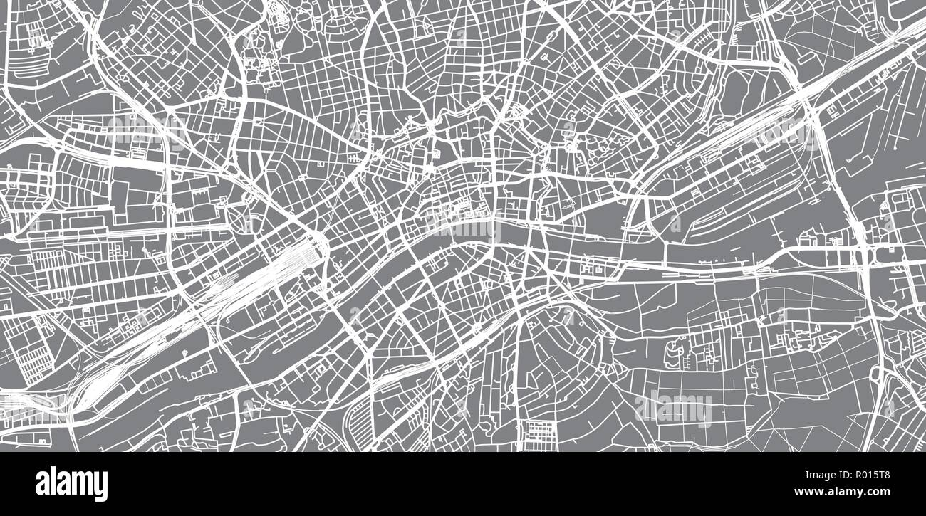 Urban vector city map of Frankfurt, Germany Stock Vector Art ...