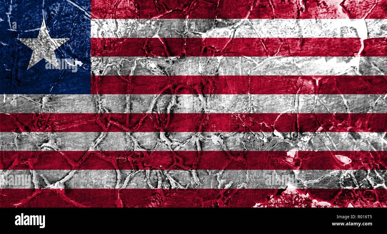 Old Liberia grunge background flag - Stock Image