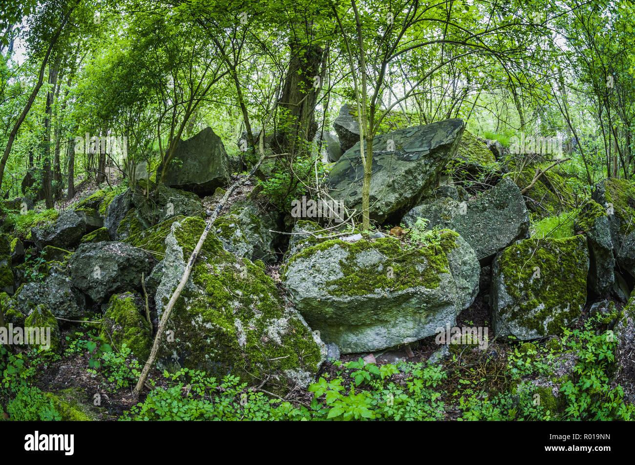 Abandoned remains of destroyed bunker of Festung Breslau. - Stock Image