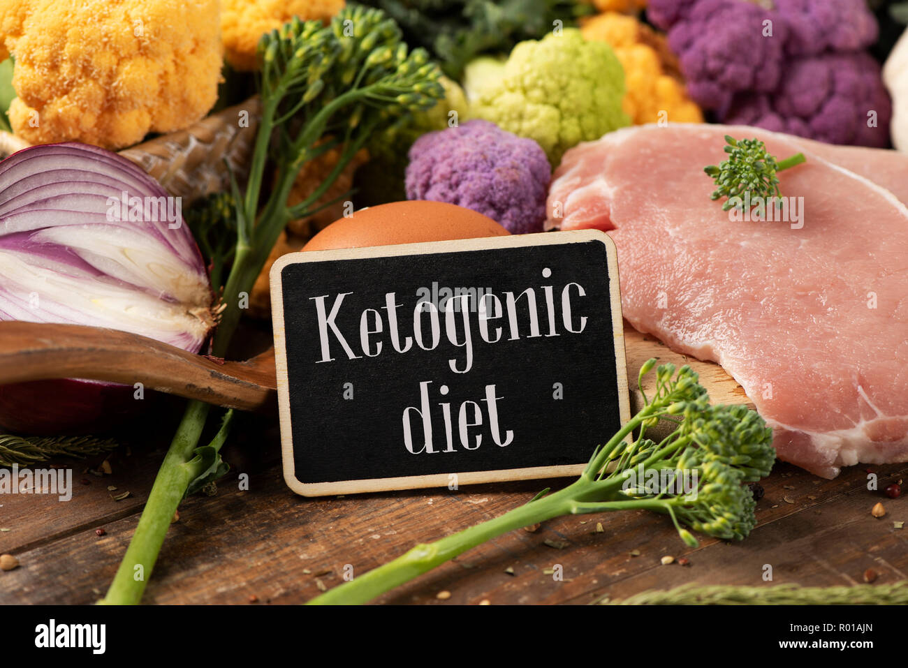 closeup of a signboard with the text ketogenic diet, a diet to treat the infantile epilepsy, on a pile of some different raw food, such as eggs, diffe - Stock Image