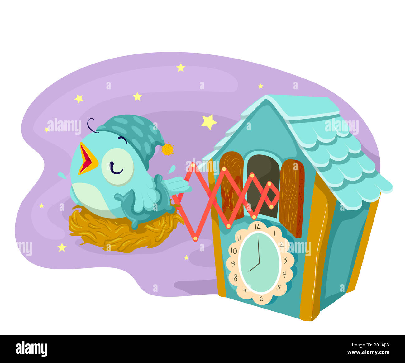 illustration of cuckoo clock chirping during bed time with the bird