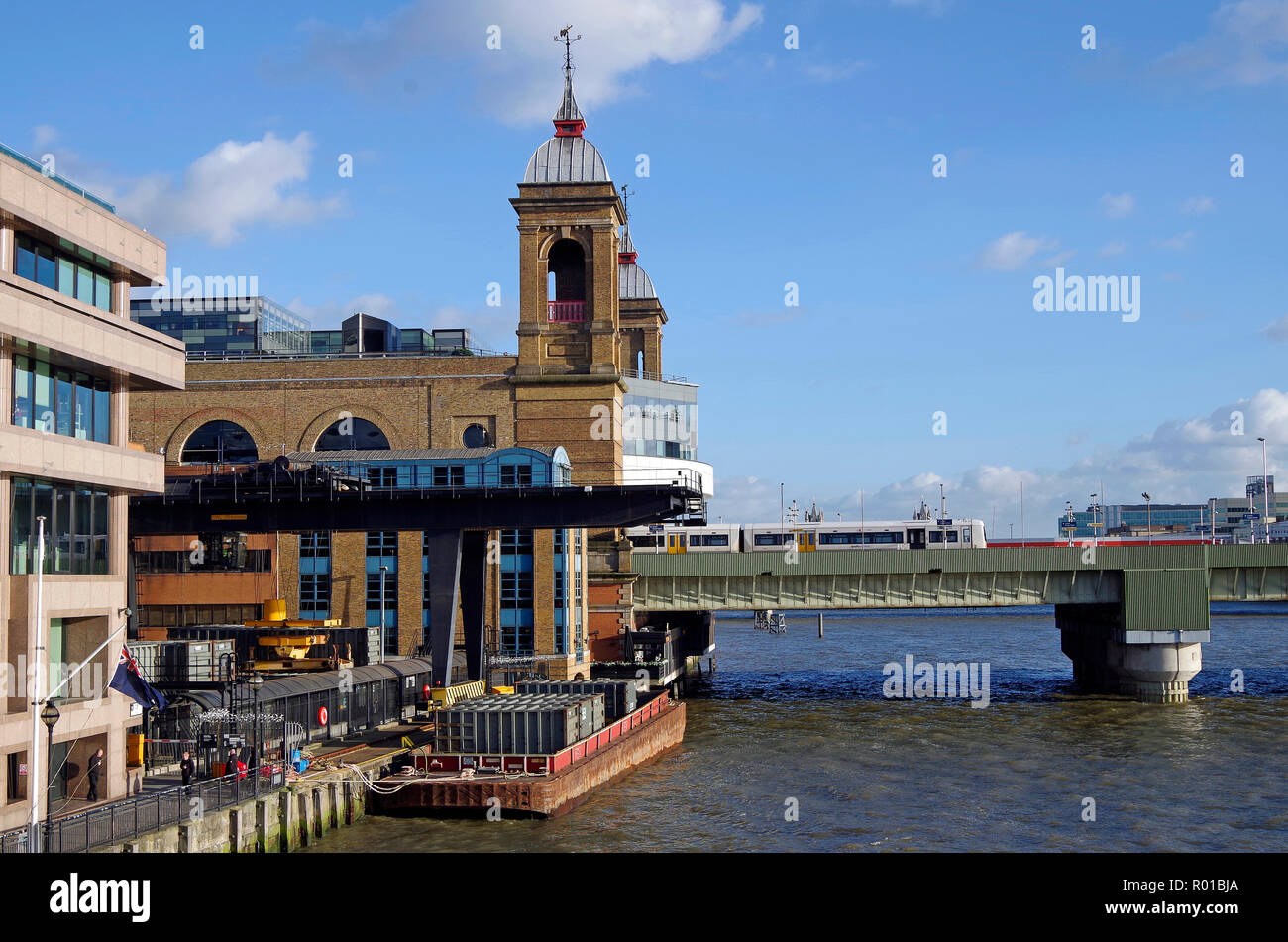 Cannon Street station, with  Walbrook Wharf transit station, transferring garbage in containers to barges, for shipping down-river for incineration - Stock Image
