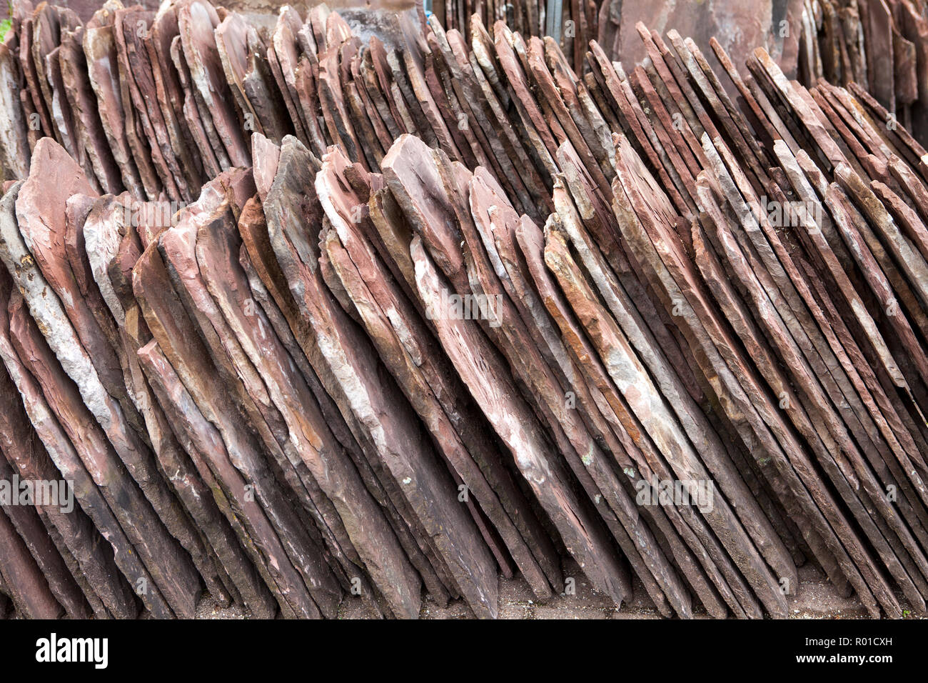 Old red sandstone roofing tiles, Bodenwerder, Weserbergland, Lower Saxony, Germany, Europe - Stock Image