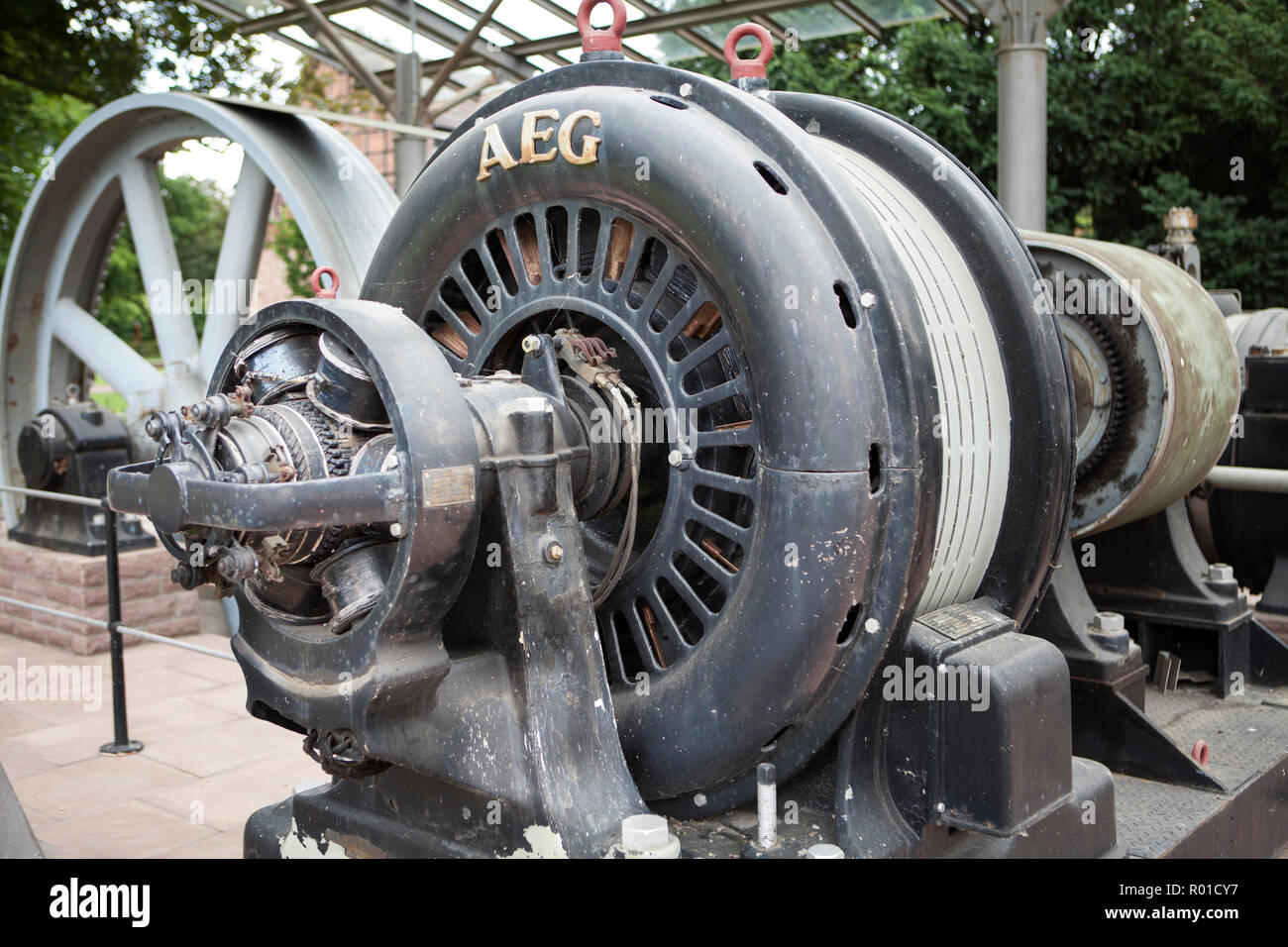 Old steam engine, Bodenwerder, Weserbergland, Lower Saxony, Germany, Europe - Stock Image